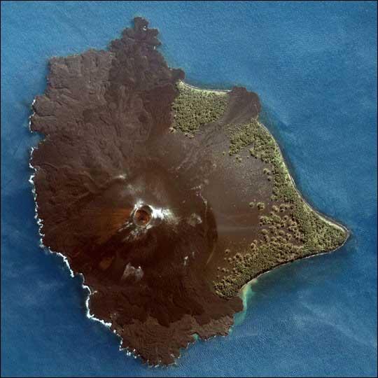 An aerial view of the volcanically active island of Anak Krakatau (Child of Krakatau) in Indonesia.