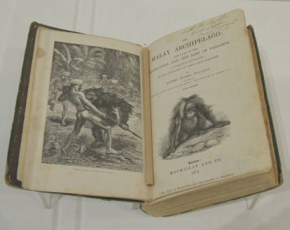 A signed copy of The Malay Archipelago. From the Museum and Art Galleries of the Northern Territory Wallace exhibition, Darwin.